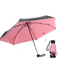 Зонт Olycat Small Black Folding Umbrella Pink